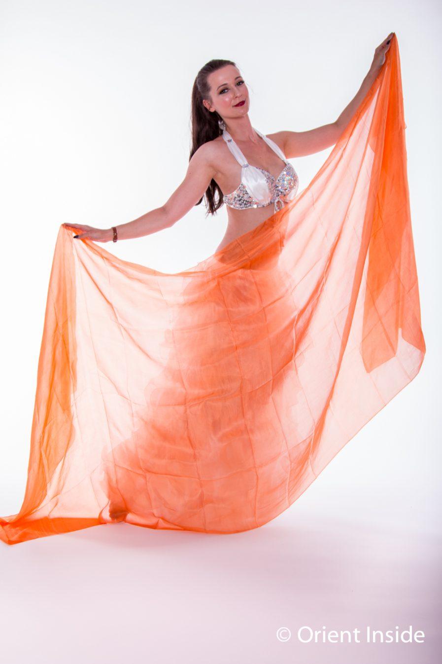 Bauchtanzschleier - 100% Seide -orange