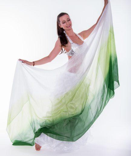 Bauchtanzschleier - 100% Seide - weiß/hennagrün/grün