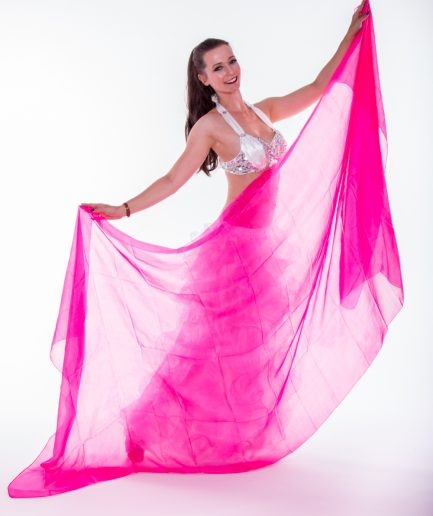 Bauchtanzschleier - 100% Seide -pink