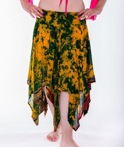Indischer Bollywood Zipfelrock Maya aus Seide - Gr.34-44 - grün/gelb