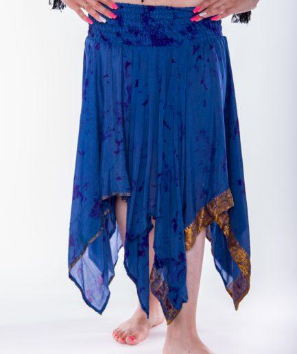 Indischer Bollywood Zipfelrock Maya aus Seide - Gr.34-44 - blau