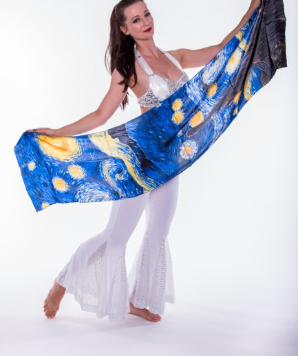Damenschal aus 100% Seide Sternenregen