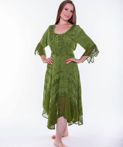 Ethno Hippie Zipfelkleid aus Indien Gr.40-46 - olivgrün