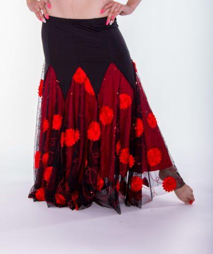 Tanzrock Flower Angel - Gr.36-44 - schwarz/rot